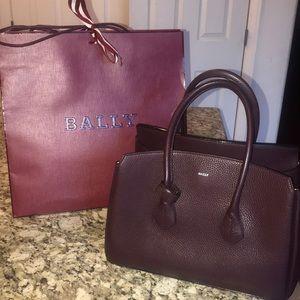 Cherry Bull Grained Bally's Handbag